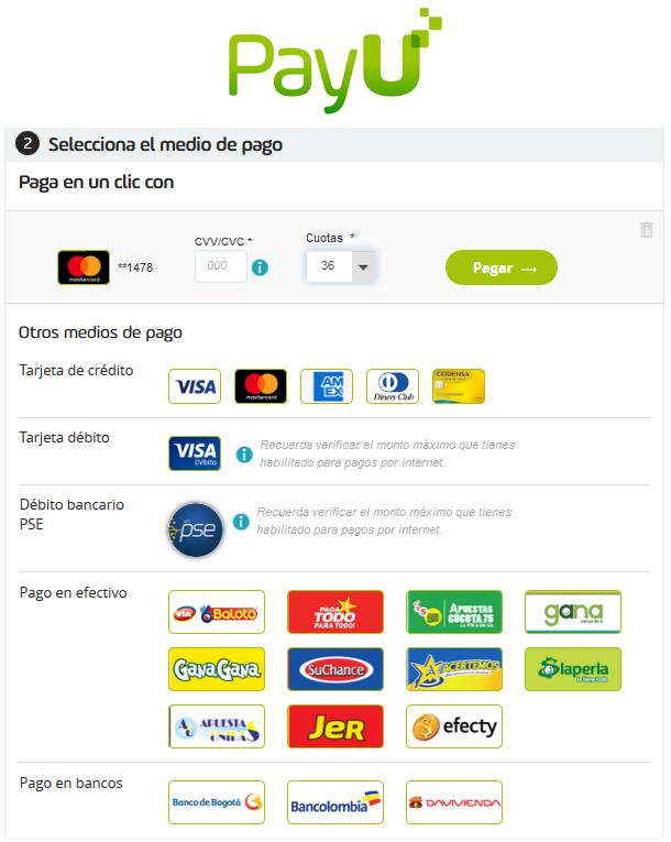 Atlanta Deportes - PayU payment methods popup